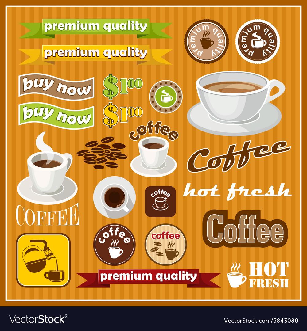 Set of vintage coffee and tea icon