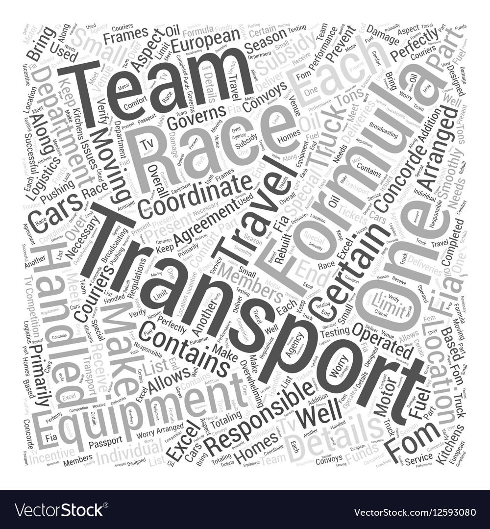 Transportation of Formula One Racing Equipment