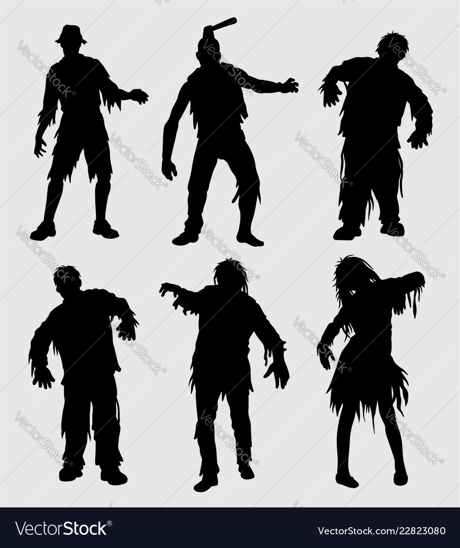 Zombie horror silhouette