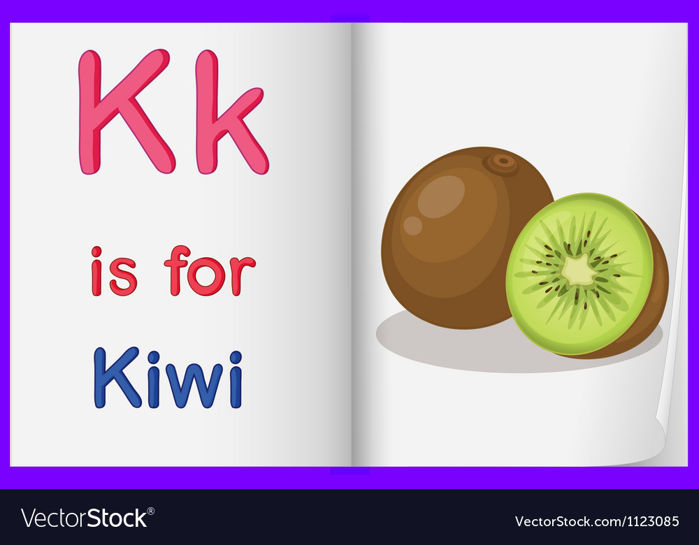 A picture of a kiwi fruit in a book