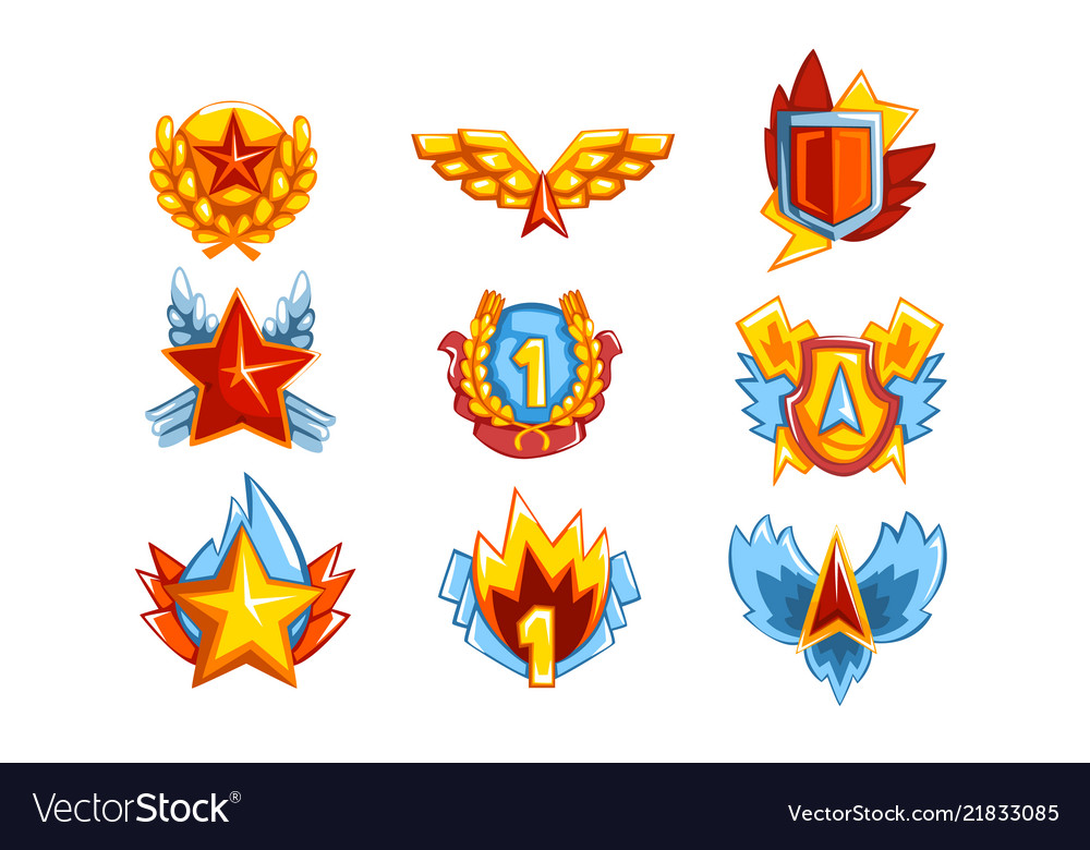 Collection of colorful medals in various shapes