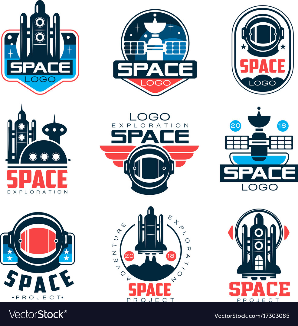 Exploration space logo set space project vector image