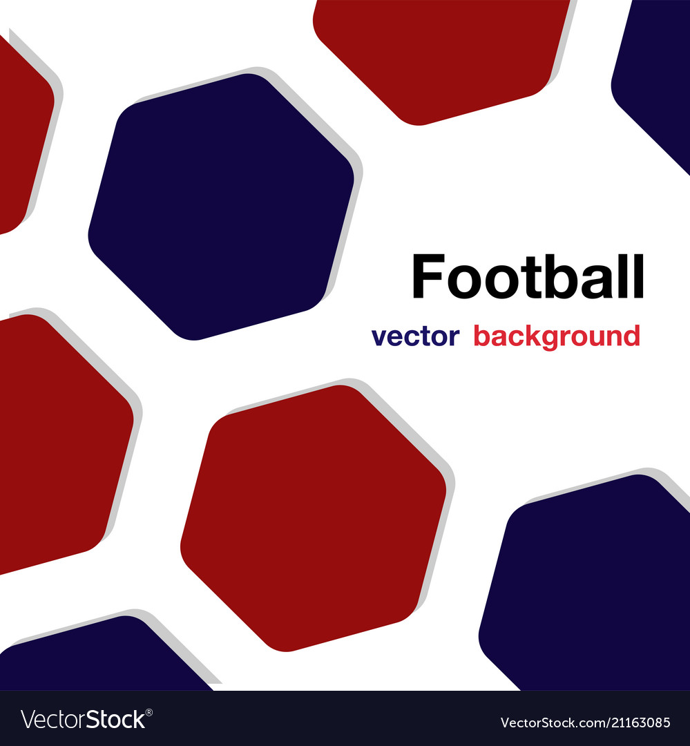 Football red blue hexagon white background