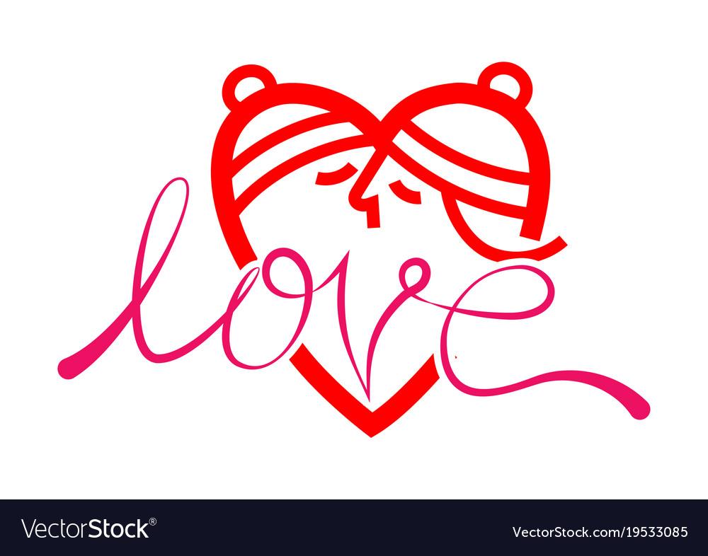 Happy valentine day love kissing symbol