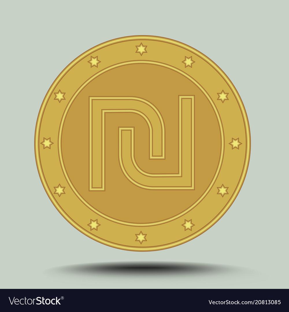 Israeli Currency Shekel Embossed Symbol In Circle Vector Image