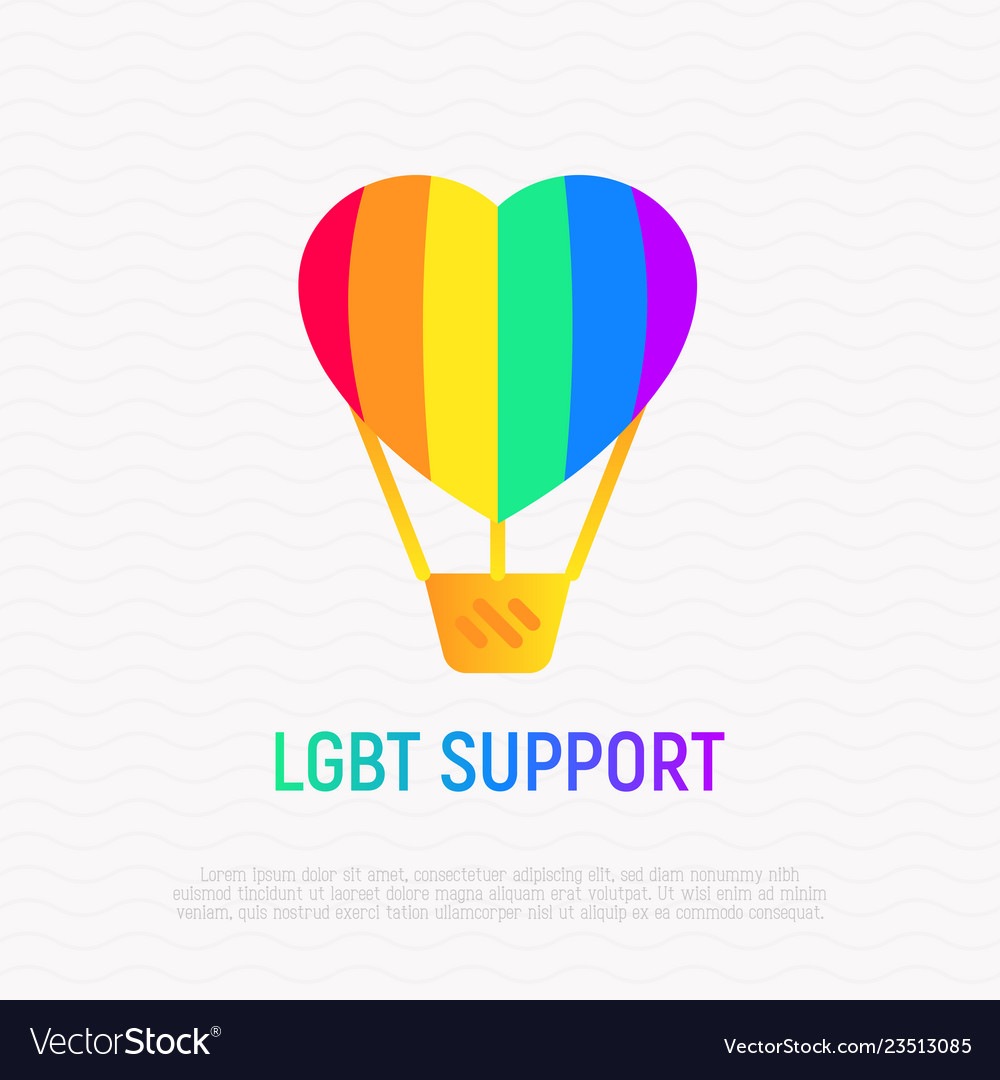 Lgbt support icon aerostat with rainbow balloon