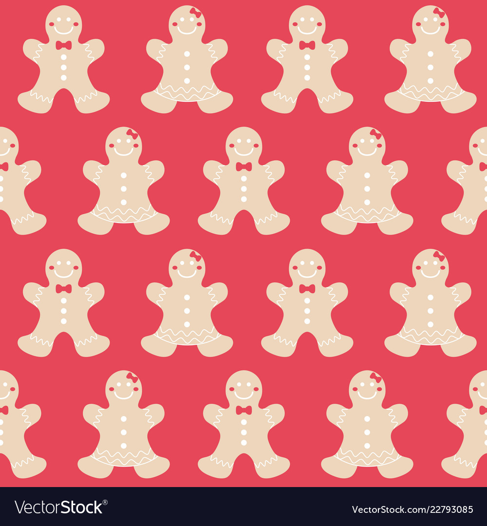 Merry christmas gingerbread seamless pattern