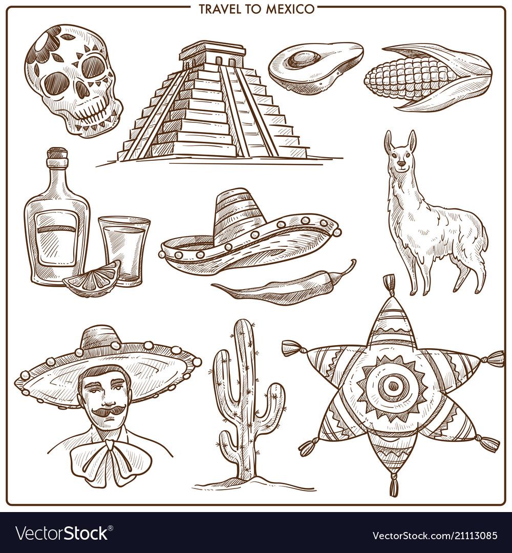 Mexico travel ladmarks sketch symbols