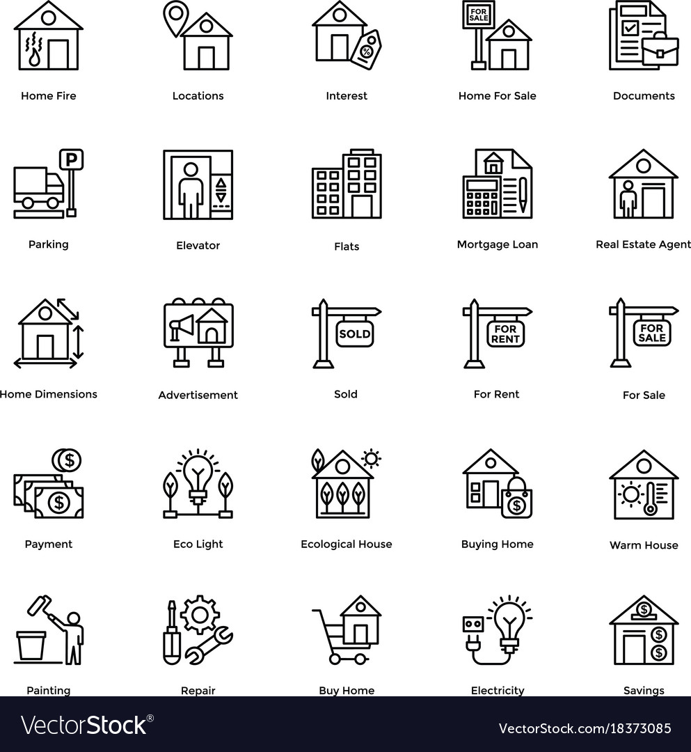 Real estate line icons set 3