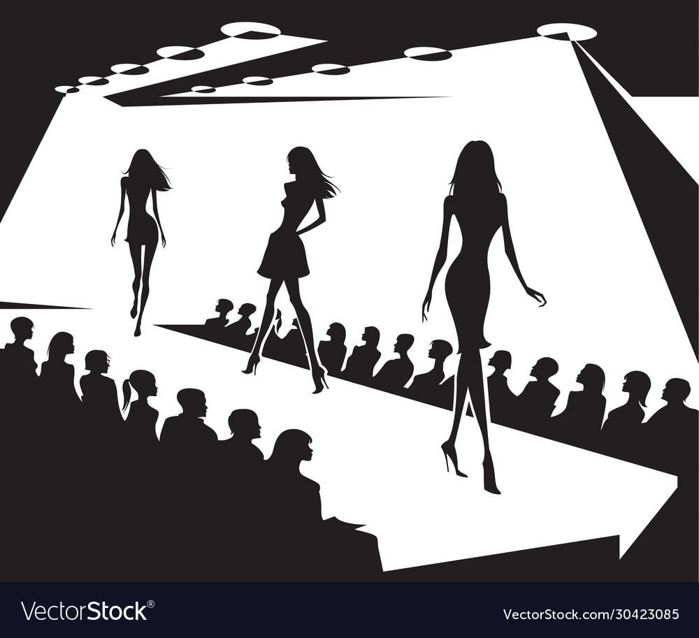 Runway models on fashion show in black and white