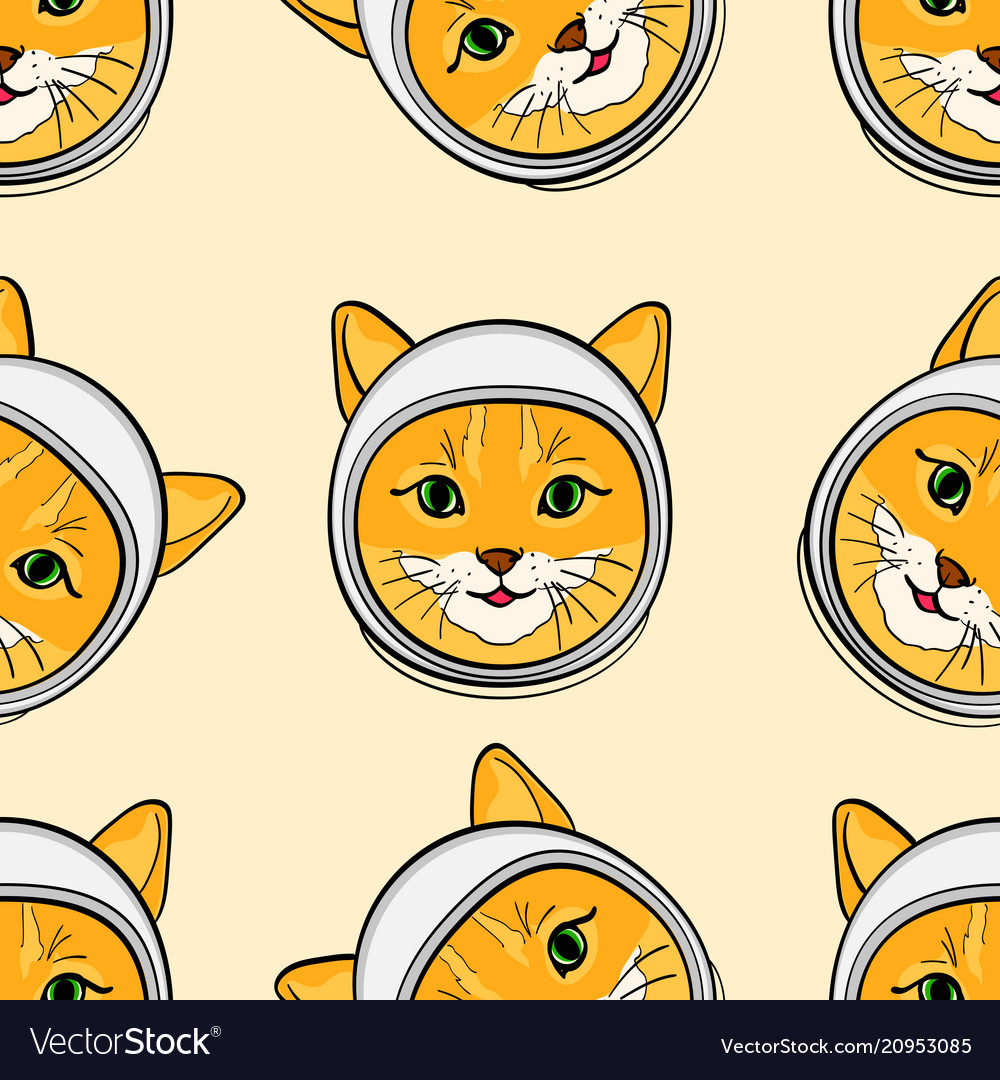 Seamless background with the head of a cat in a