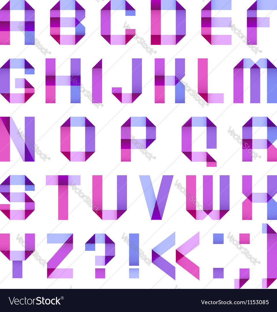 Spectral letters folded of paper ribbon-purple
