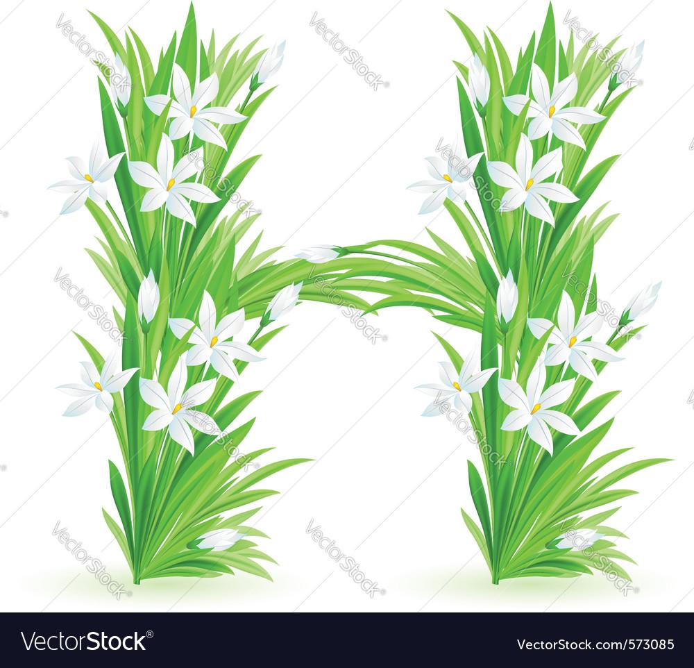 Spring Flowers Alphabet H Royalty Free Vector Image