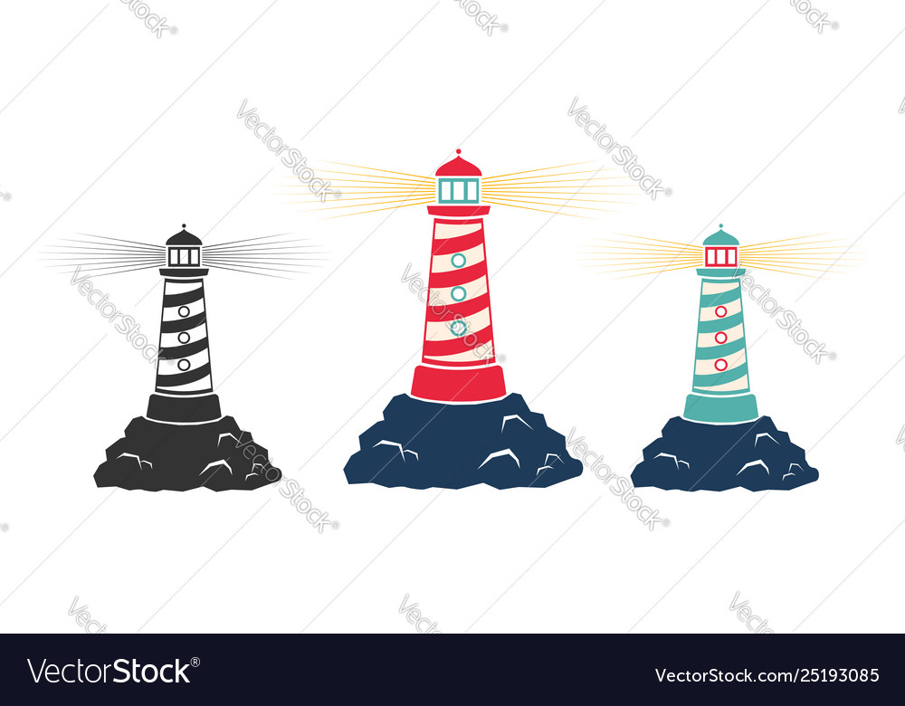 Vintage icons a lighthouse