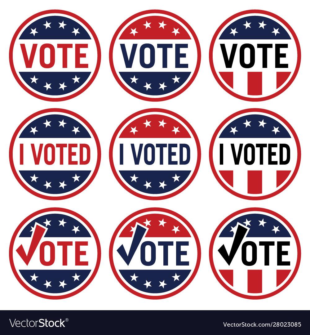 Vote and i voted political election logo set