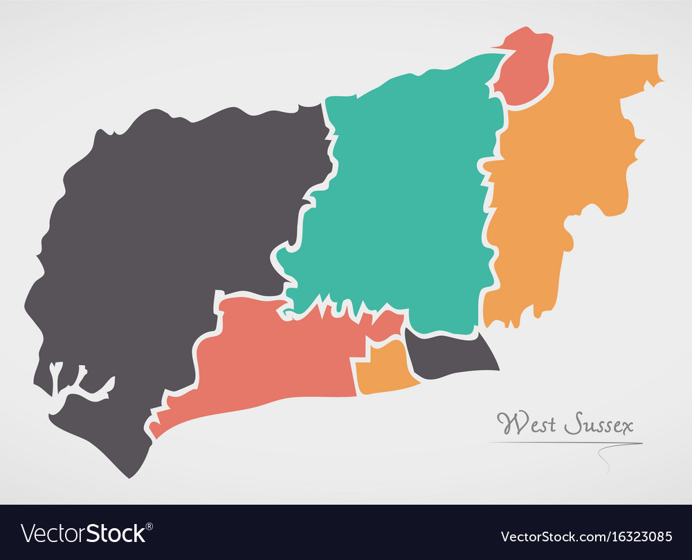 West Sussex England Map With States And Modern Vector Image