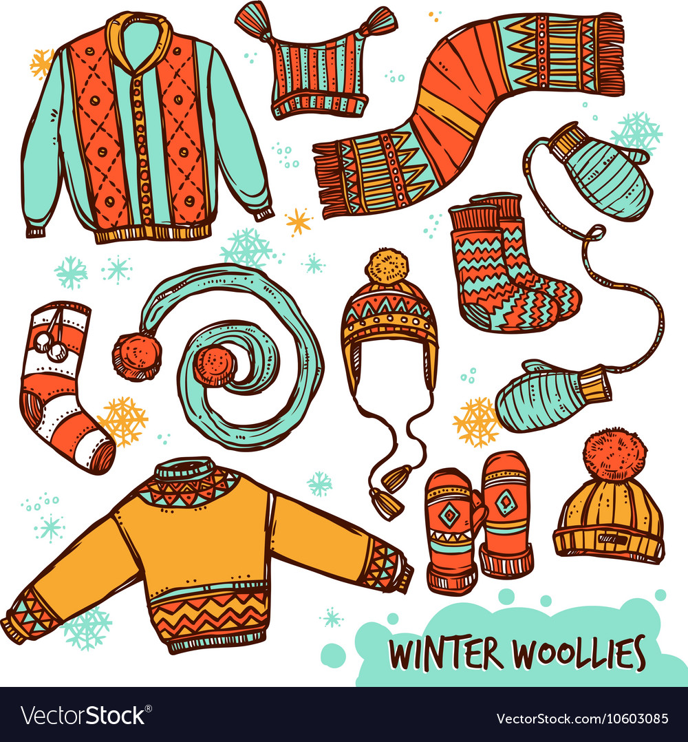 Winter Warm Knitted Clothes Color Set