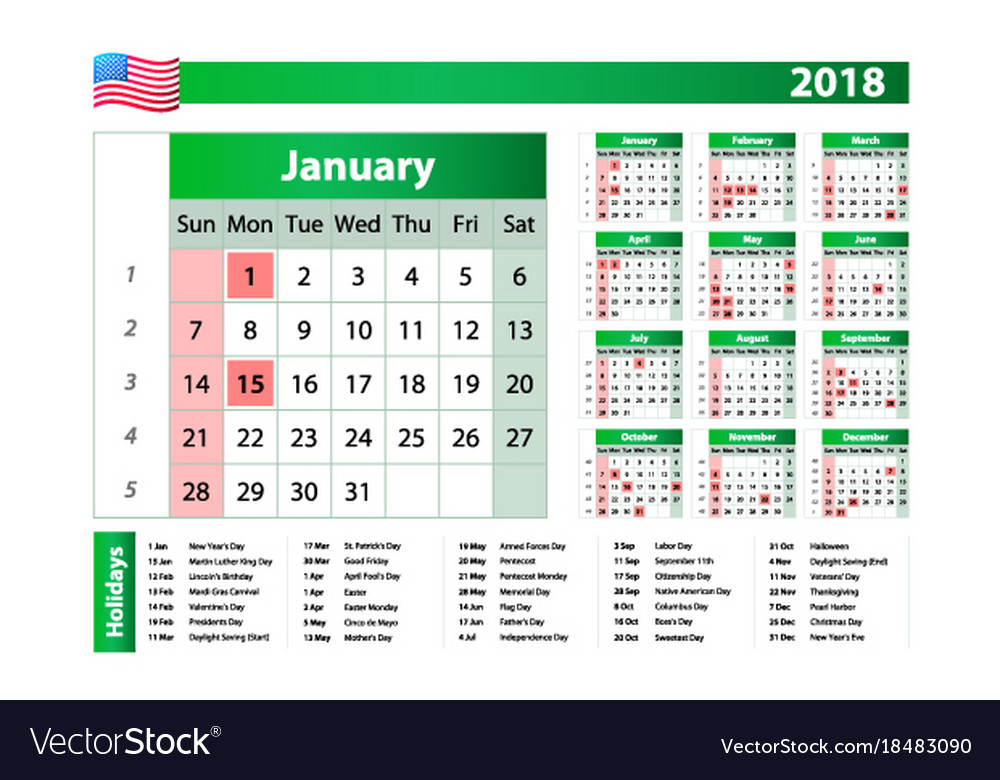 2018 green yearly calendar federal holidays moon vector image