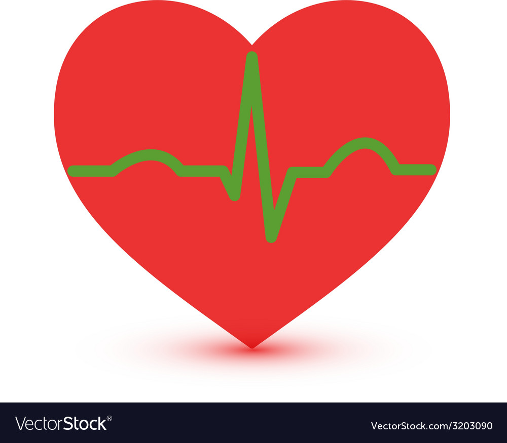 Abstract green and red ecg heart icon
