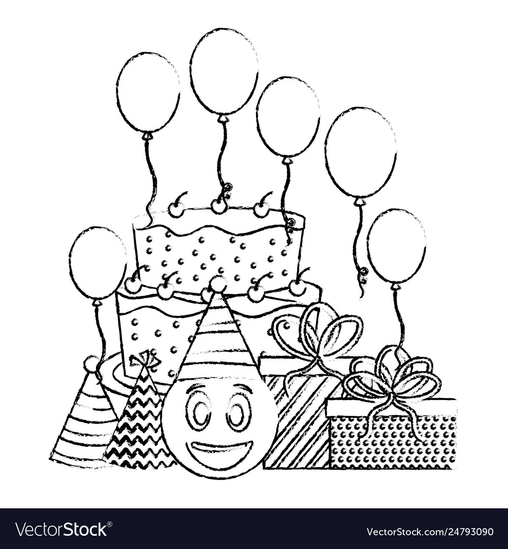 Marvelous Birthday Cake Emoticon Face Ts Balloons And Vector Image Funny Birthday Cards Online Aeocydamsfinfo