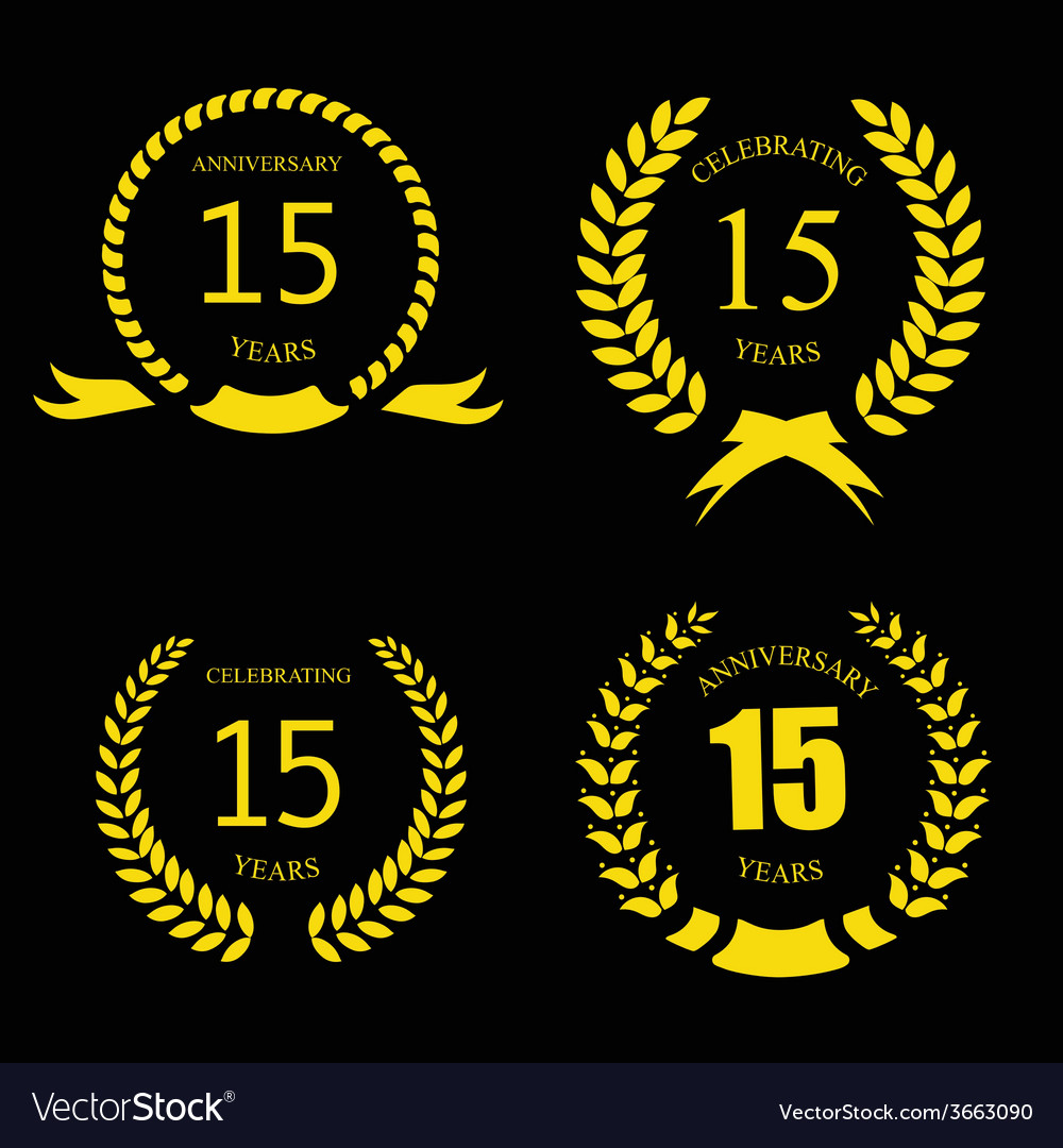 Celebrating 15 Years Anniversary Golden Laurel Vector Image