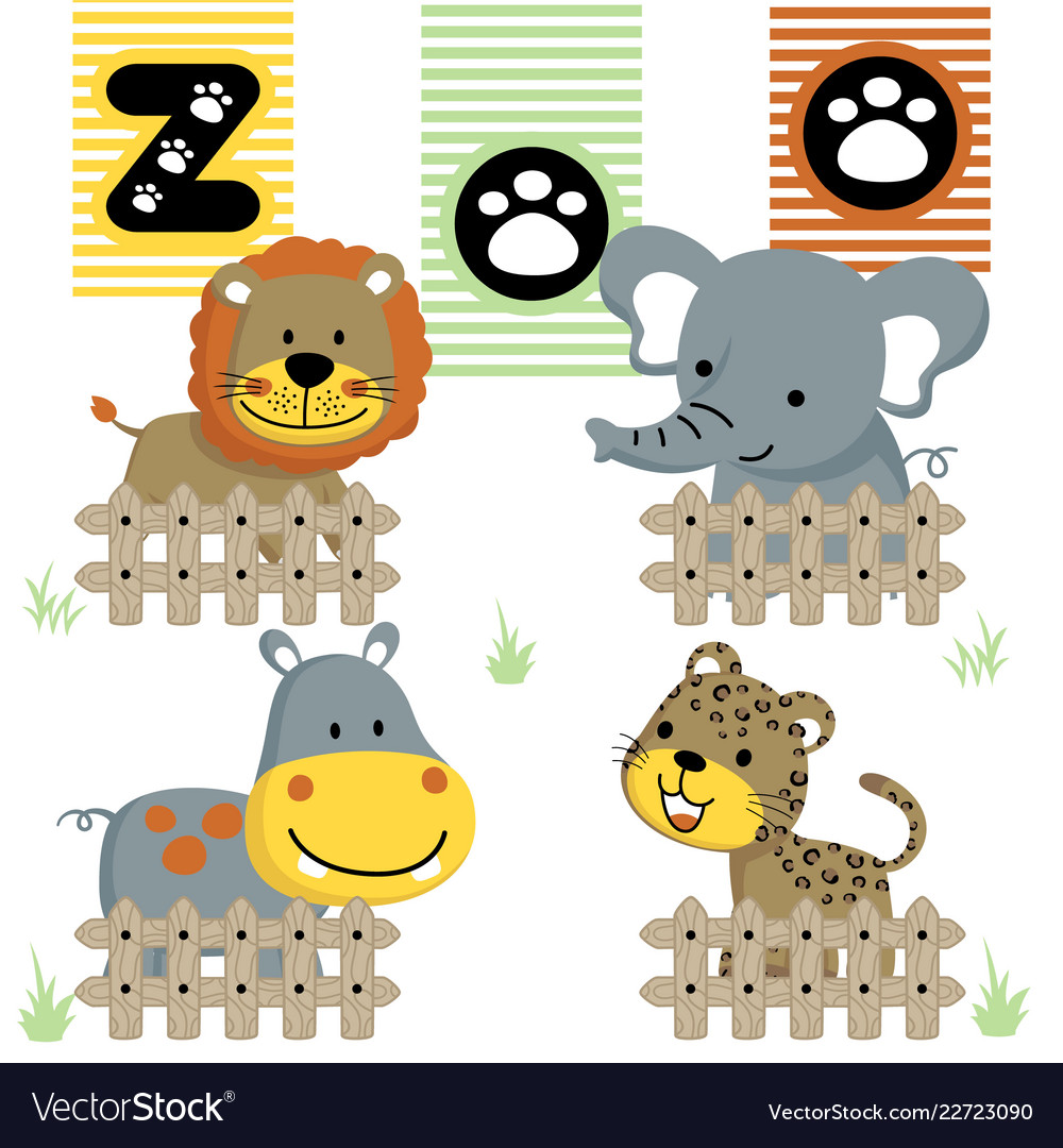 Cute little animals cartoon in the zoo