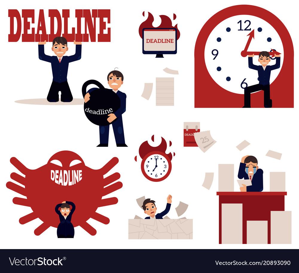 Deadline and time management concept elements set
