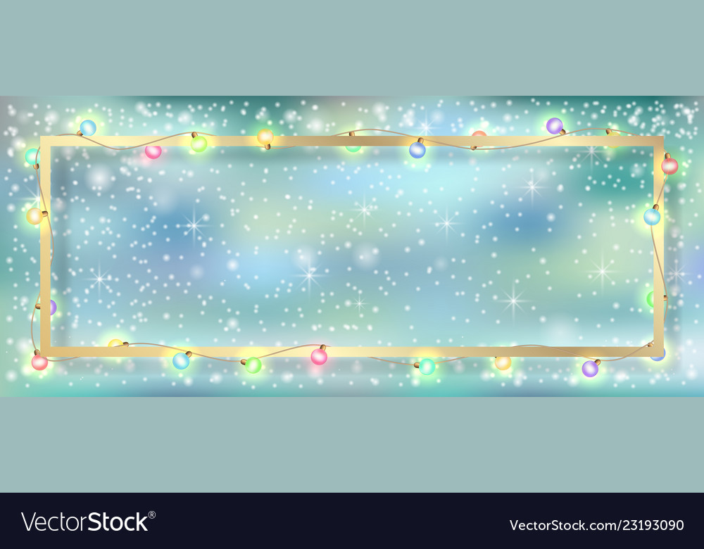 Garland and gold frame winter background