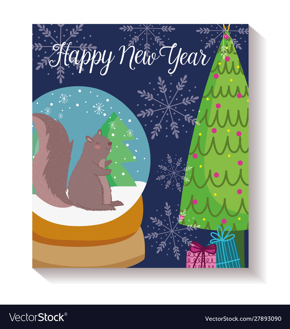 Happy new year squirrel trees crystal ball snow