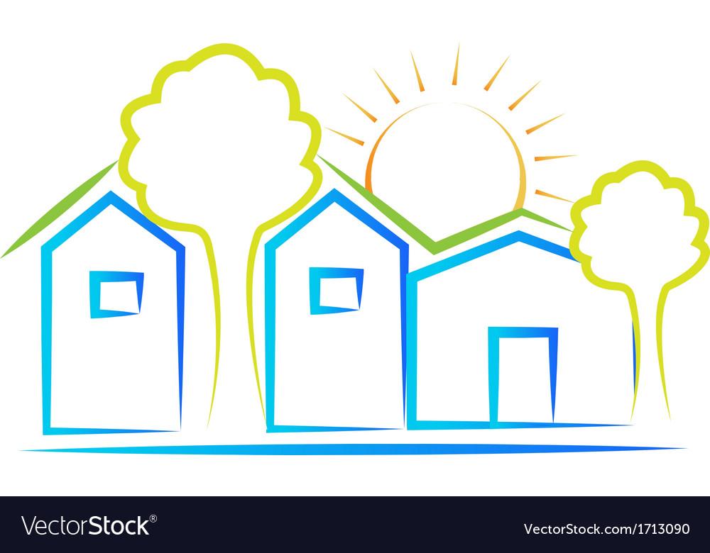Houses tree and sun logo vector image