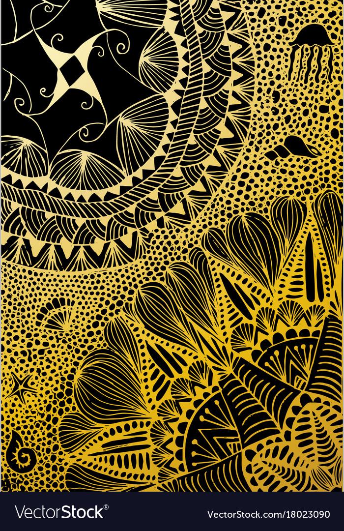 Luxury Golden Wallpaper Vintage Floral Pattern Vector Image
