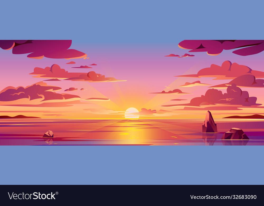 Panorama sea sunset or ocean sunrisewater sky