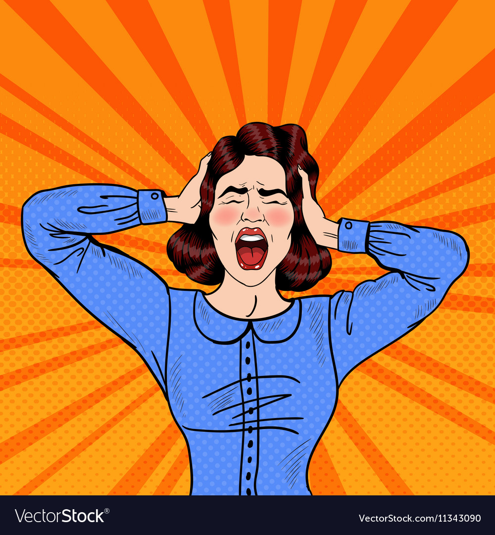 pop art angry frustrated woman screaming vector image