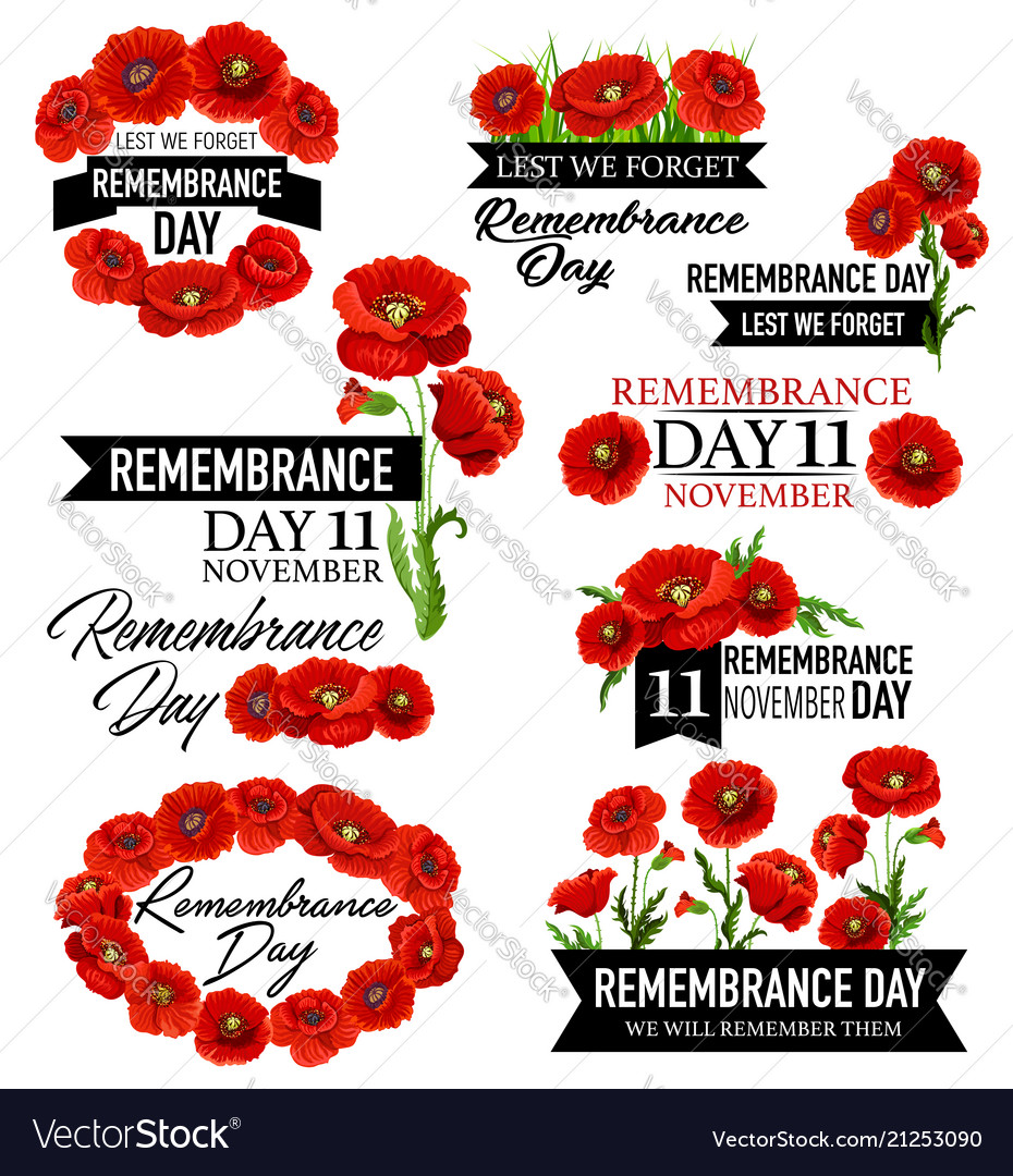 Poppy Flower Memorial Wreath For Remembrance Day Vector Image