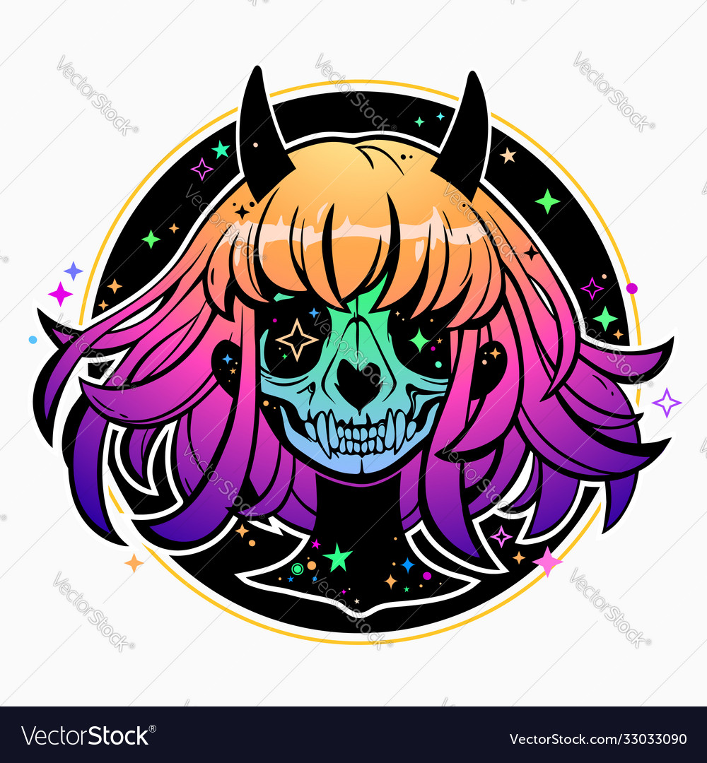 Portrait dead colorful magic demon girl
