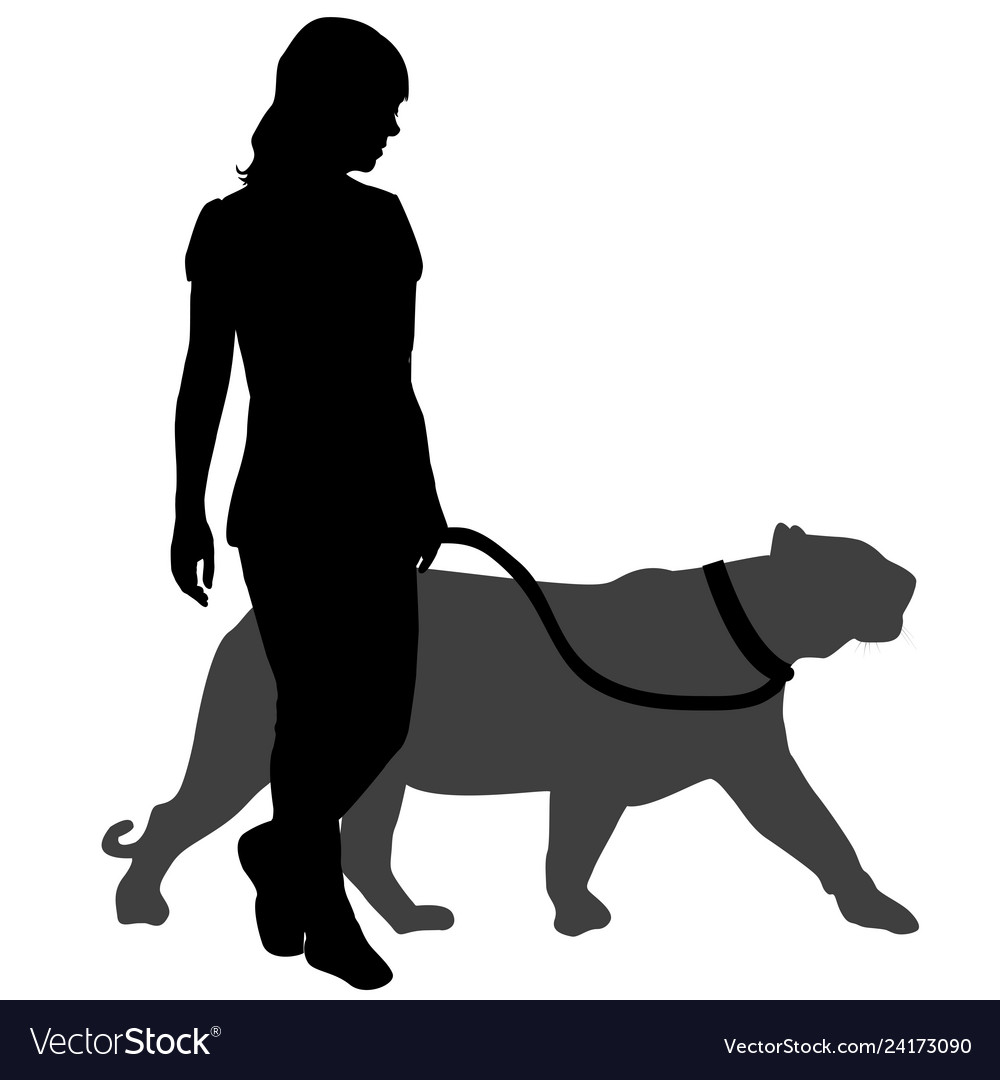 Silhouette of a woman with a panther on a walk