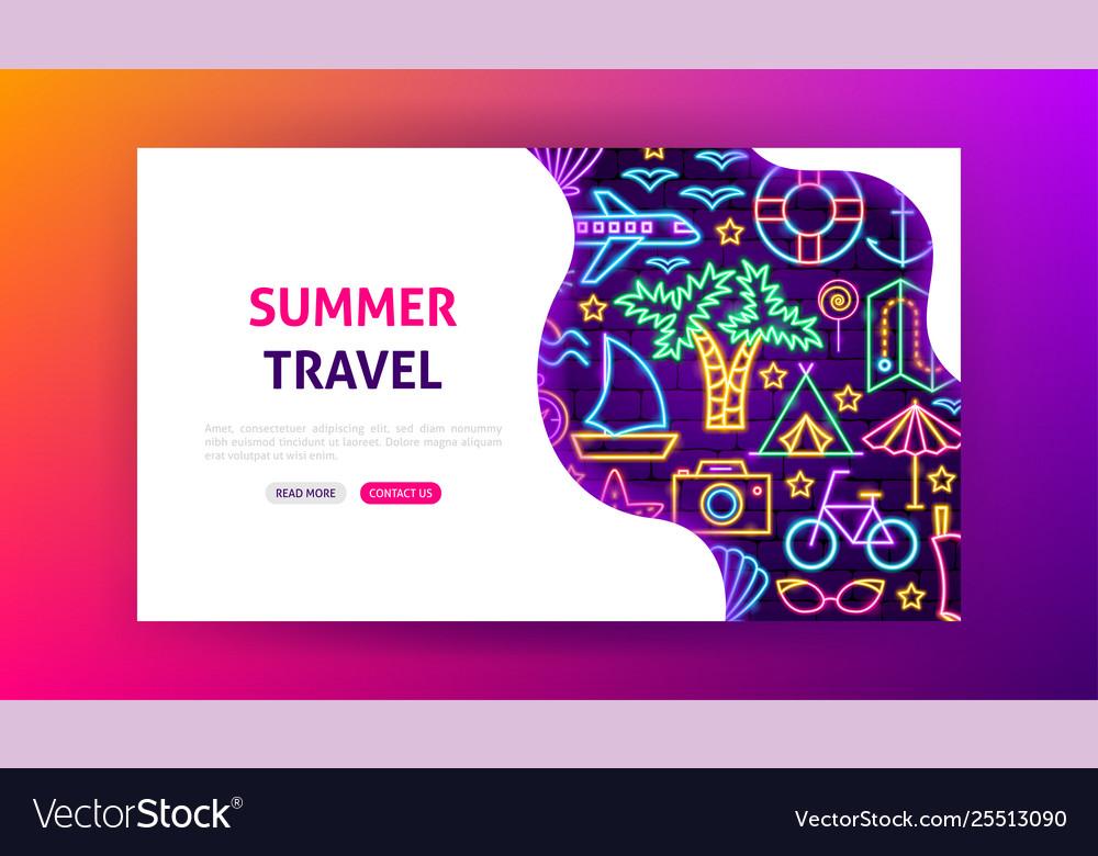 Summer travel neon landing page