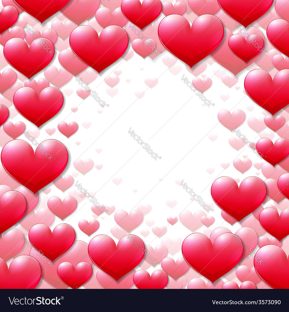 Valentines Day round frame with scattered hearts vector image