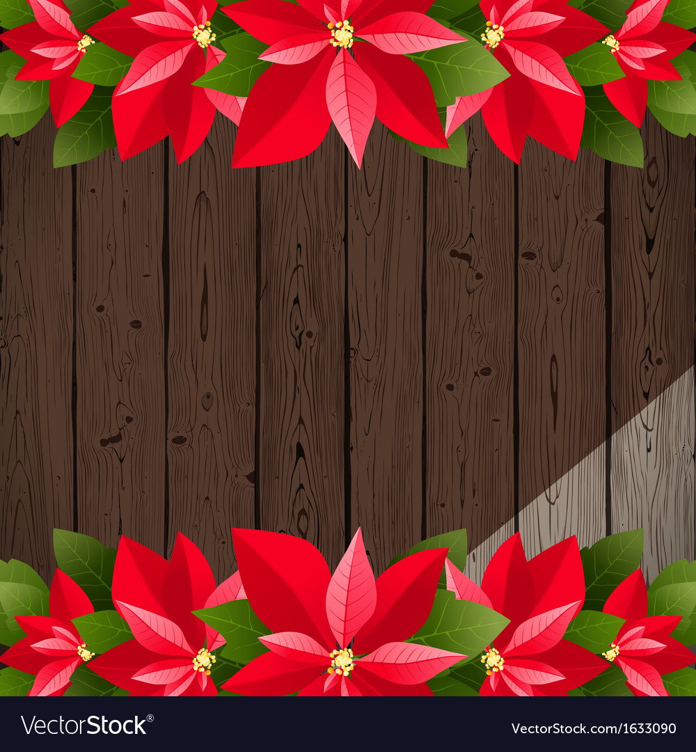 Wooden back with poinsettia