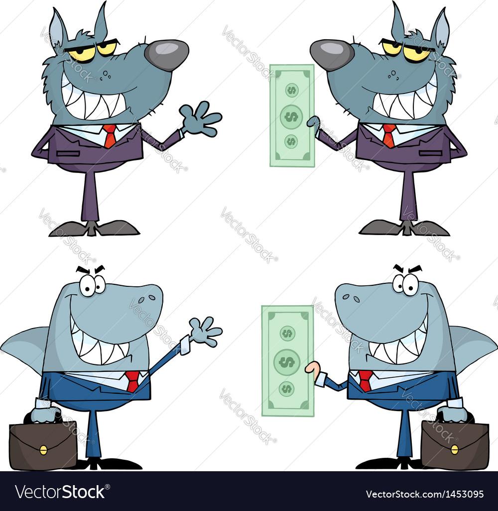 Animals Businessmen Cartoon Characters vector image