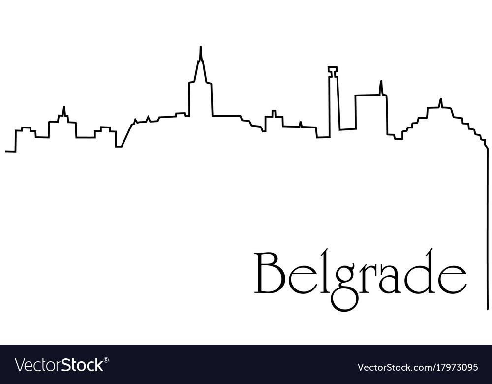 Belgrade city one line drawing background