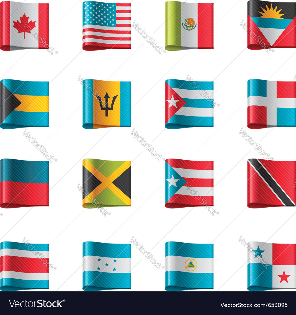 flags north and central america royalty free vector image