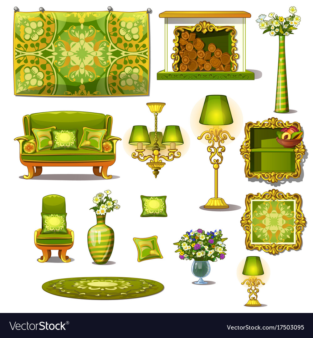 Furniture green vintage style big set