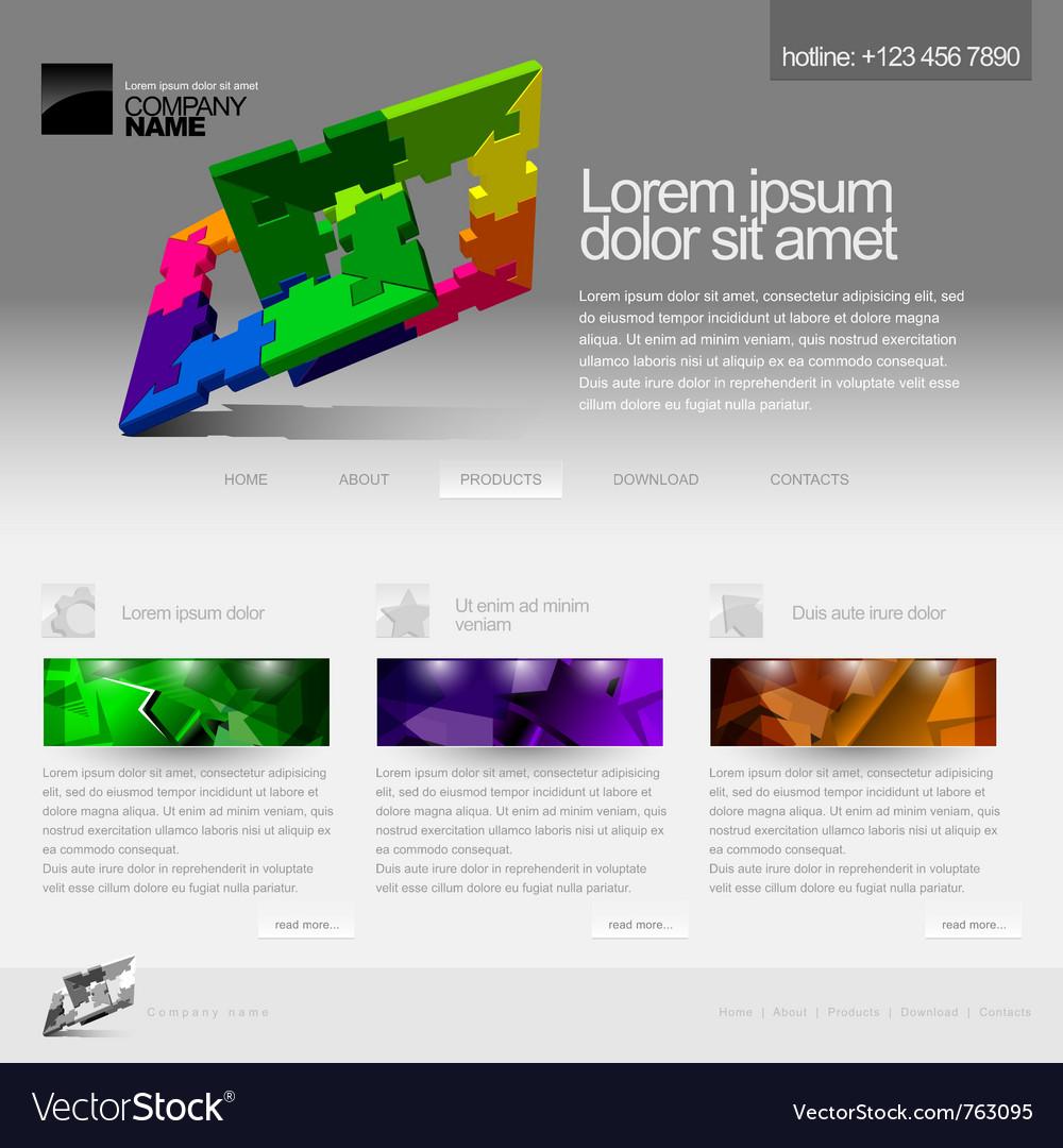 Gray website template vector image