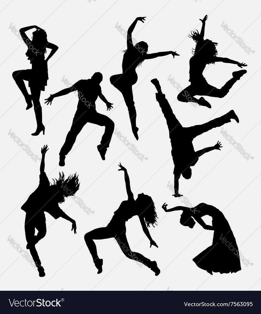 Modern dance male and female silhouette