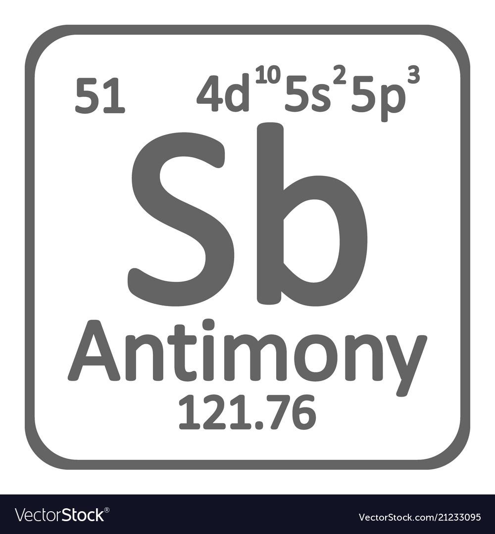 Periodic Table Element Antimony Icon Royalty Free Vector
