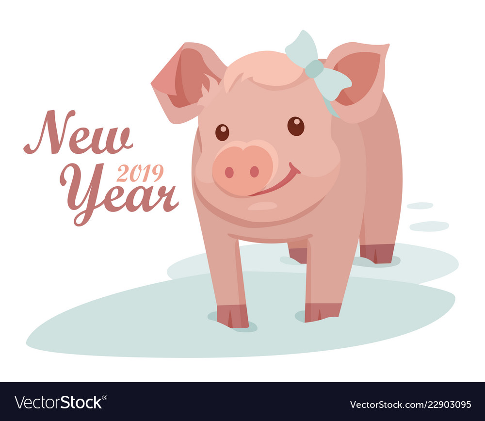 Pig is a symbol of the 2019 new year greeting