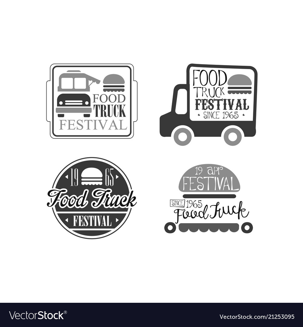 set of 4 logo templates for food truck cafe vector image