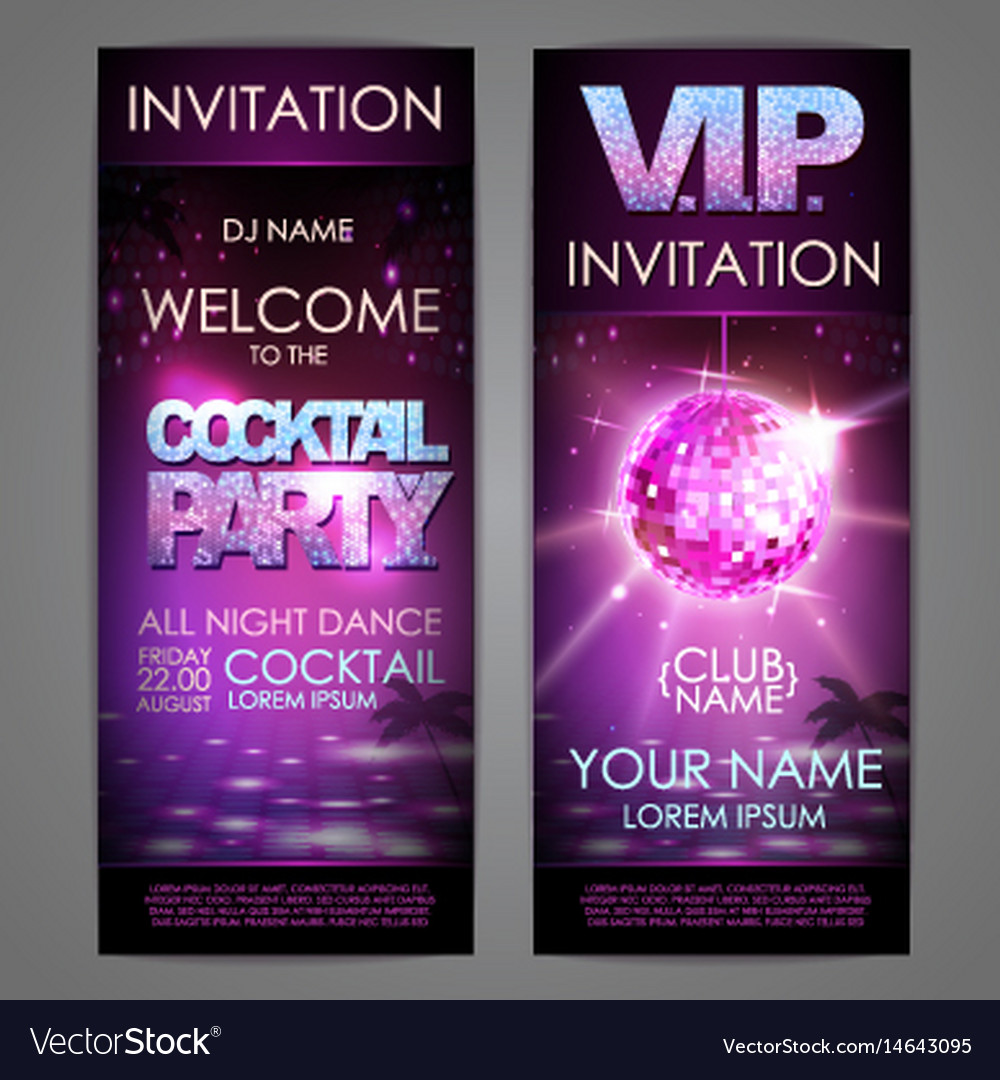 Set of disco background banners cocktail party