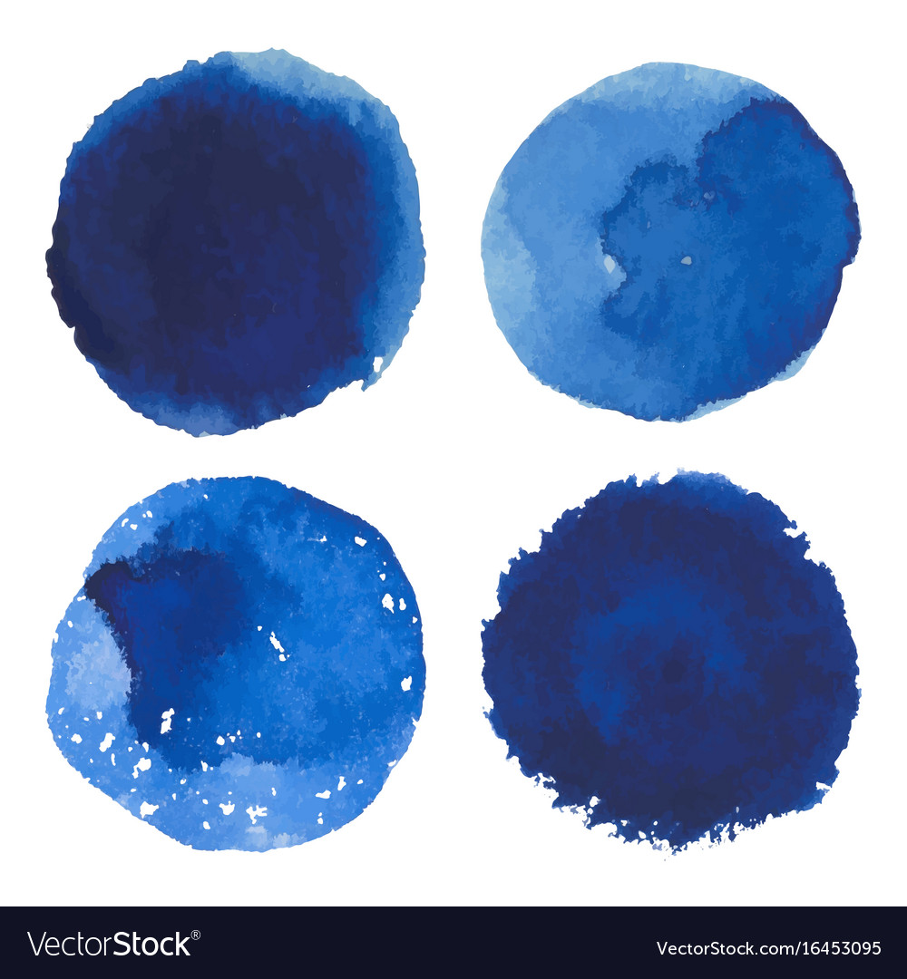 Set of watercolor blue spot banner vector image